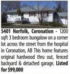 1200 sqft 3 bedroom bungalow on a corner lot