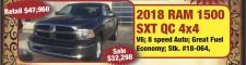 2018 RAM 1500 SXT QC 4x4