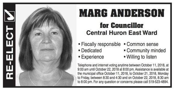 Re-elect  Marg Anderson For Councillor