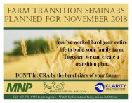 FARM TRANSITION SEMINARS PLANNED FOR NOVEMBER 2018